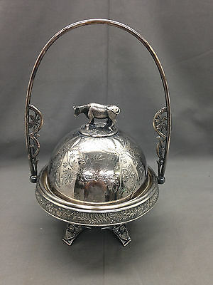 Signed Meriden Company Silverplate Handled Butter Dish Cow Topper 4943 1/2