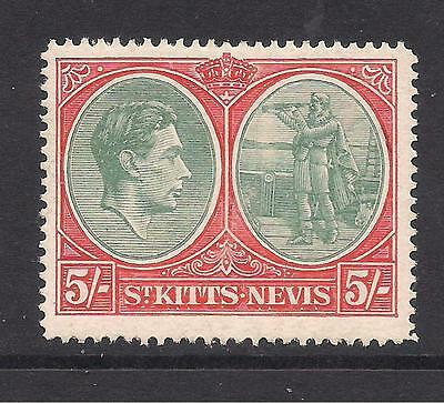 ST KITTS-NEVIS  1938-50  5s grey-green & scarlet  p14  chalky paper  SG77a  MM