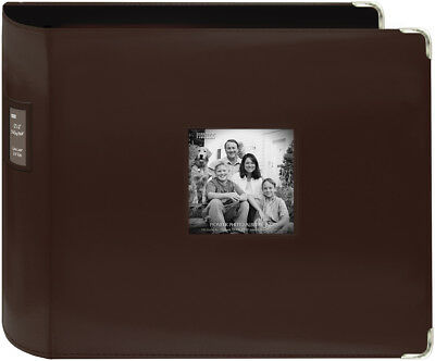 "Pioneer 3-Ring Sewn Leatherette Album 12""X12""-Brown"