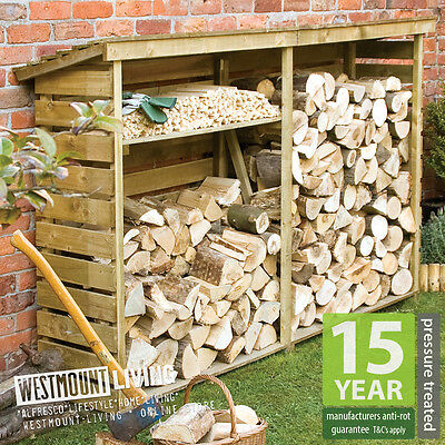 NEW LARGE 7x2FT SMALL 4x2FT GARDEN WOOD STORAGE FIREWOOD LOG STORE