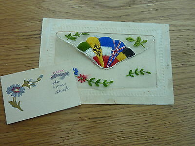 Ww1 Silk Postcard Flags Of Allied Nations With Mini Card