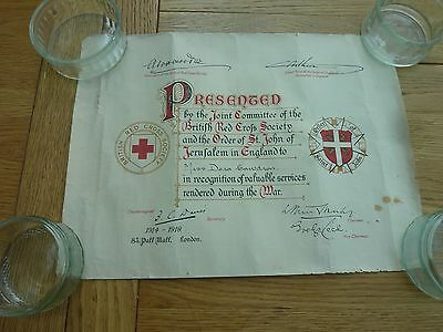 Ww1 Original Red Cross Certificates Roll Of Honourable Service To Same Lady
