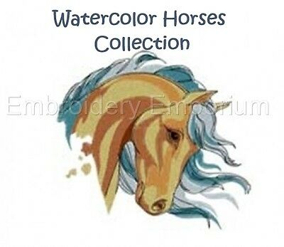 Watercolor Horses Collection - Machine Embroidery Designs On Cd