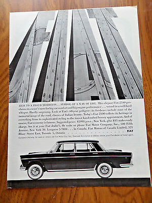 1960 Fiat 2100 Ad  Heir to a Proud Tradition Symbol of a Way of Life