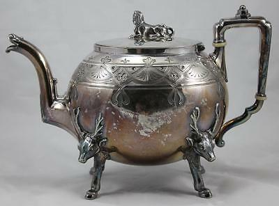 Reed & Barton Eqyptian Revival Teapot Spinx Finial & Elk Feet Etched Silverplate