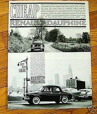 1960  Renault Dauphine Ad    Cheap