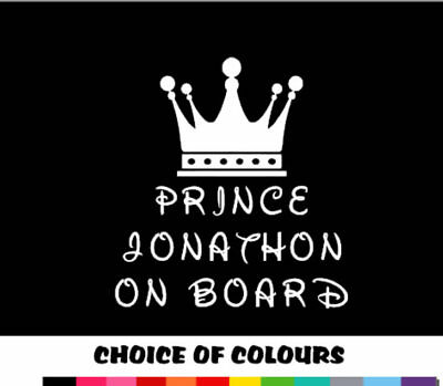 PERSONALISED NAME PRINCE ON BOARD baby boy Child Car Sign Decal Sticker