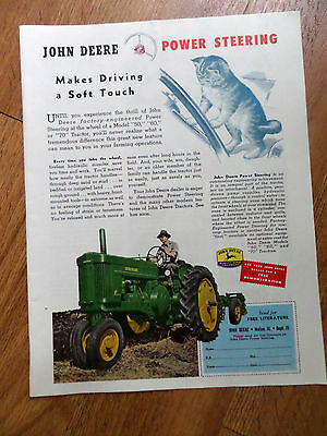 1954 John Deere Ad  Power Steering Soft Touch on Model 60 Tractor