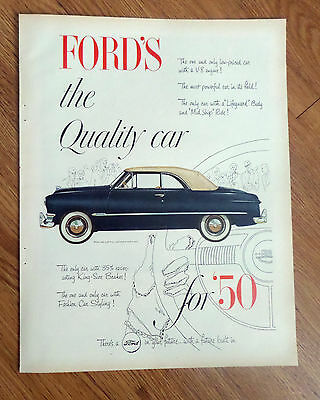 1950 Ford Custom Convertible Ad   The Quality Car
