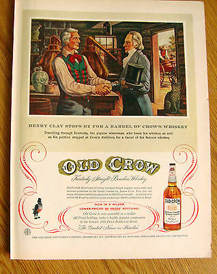 1957 Old Crow Whiskey Ad Henry Clay Stops by for a Barrel of Whiskey