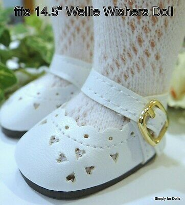 "WHITE Heart Cut MARY JANE DOLL SHOES fit American Girl 14.5"" WELLIE WISHERS DOLL"