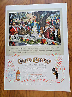1951 Old Crow Whiskey Ad Lafayette Barbecue 1825