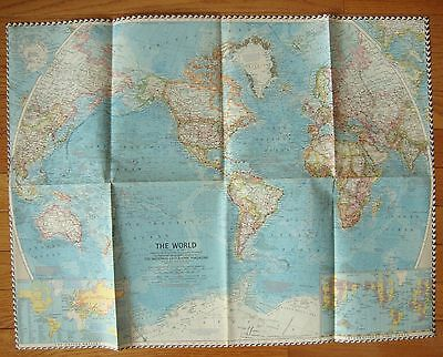 """Vintage 1960 National Geographic WORLD MAP 19"""" x 25"""""""