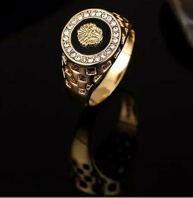 14 k Gold Plated Medusa lion  Men's  Signet Band Rings  (Sizes P 7 to Z 12 .5