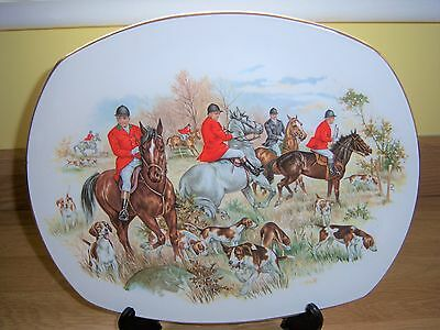 Lovely Hand Painted Hunting Scene Oval Plate By Harry Hancock Tustall Ltd