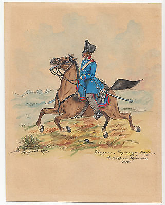 Antikes Aquarell Dragoner Pferd Regiment Königin No. 1 Gemälde Soldat 1815