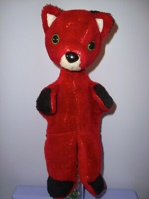 OLD VOLPE FOX PUPPET MARIONETTA vintage 60 soft plush doll peluche pupazzo toy