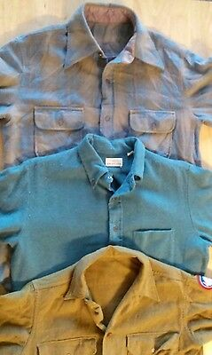 3 Vintage Men's Long Sleeve Button Front Wool Shirts - Medium / Small