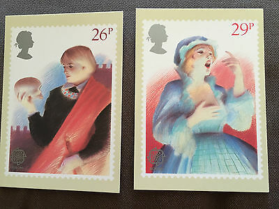 "Set Of 2 Royal Mail ""british Theatre"" Stamp Phq Postcards"