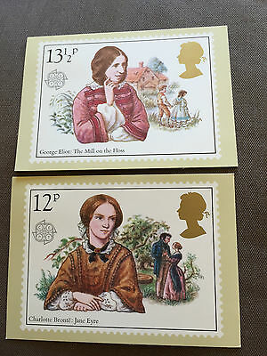 "Set Of 2 Royal Mail ""famous People"" Stamp Phq Postcards"