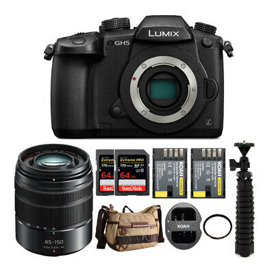 Panasonic Lumix GH5 4K Mirrorless Camera w/ 45-150mm Lens & 64GB Bundle