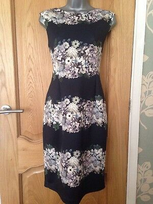 PHASE EIGHT Dress Navy White Floral Print Sleeveless UK size 14 NEW with Tags