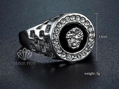 14ct White Gold Plated  Mens MEDUSA  Onyx Signet New Ring Mens pinky Band