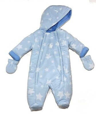 Baby Boys Padded Snowsuit Sky Blue & White Stars Design by Bonjour Bebe AW'17