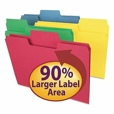 Smead 1/3 Cut Assorted Positions SuperTab File Folders, Letter, Assorted Bright