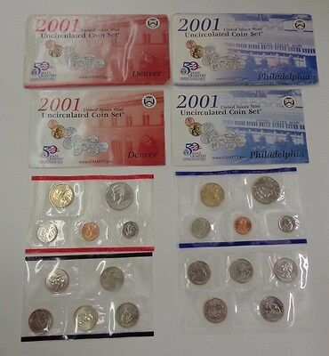 United States Mint 2001 Uncirculated Coin Set 20 coins Denver & Philadelphia