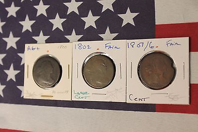 3 Draped Bust Large Cents 1800, 1802, 1807 - Low grade w/ problems (Z38)