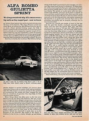 1962 Alfa Romeo Giulietta Sprint Coupe, Detailed 'Car and Driver' Road Test