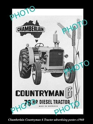 OLD LARGE HISTORIC PHOTO OF CHAMBERLAIN TRACTOR, COUNTRYMAN 6 POSTER c1960
