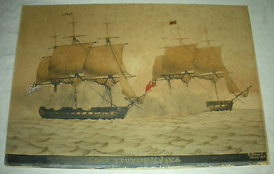 1814 WATERCOLOR PAINTING USS CONSTITUTION VS. JAVA GEORGE ROPES SALEM, MASS vafo