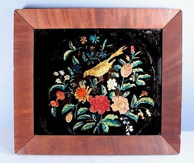 Antique 19th c Reverse Glass Tinsel Painting w Flowers + BIRD in Grain Frame