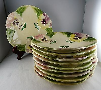"Choisy Le Roi Boulenger French Pottery 8"" Plates - Pansies"