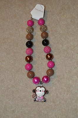 Fashion Jewelry Girls Chunky Bubblegum Beads Moneky Pendant Necklace US Seller