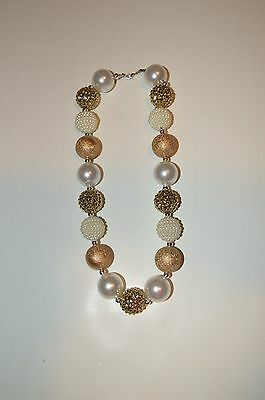 NWOT Girls Chunky Bubblegum Beads Gold Pearl Necklace US Seller