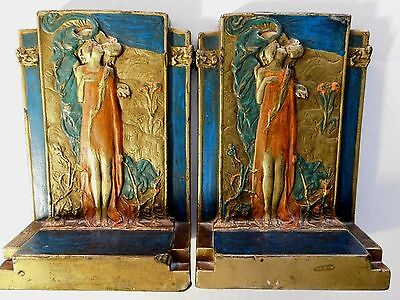 """Beautiful ART NOUVEAU BOOKENDS """"THE KISS"""" by POMPEIAN BRONZE CO., N.Y.; RARE"""