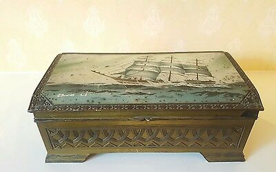 Vintage Antique Cigarette Box with Galleon Tall Ship Motiff 1940's