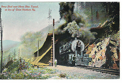 Vintage Train Postcard Great Northen Railway : Snow Shed Near Horse Shoe Tunnel
