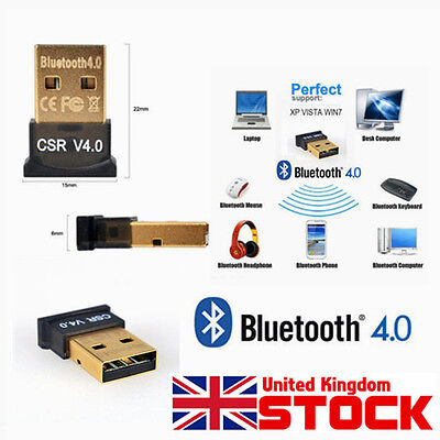 Mini Wireless Bluetooth V4.0 USB Dongle Adapter EDR for Laptop PC Win 7 10 PC