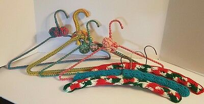 7 Vintage Clothes Hangers Hand Knit Crochet Retro Yarn Covered Lot Cottage Chic