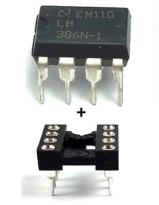 20PCS National Semiconductor LM386N-1 + Sockets - Low Power Audio Amplifier IC