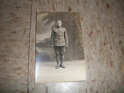 WW1 Real Photo Post Card of a US Army Soldier from Clinton MA O'tool Studio