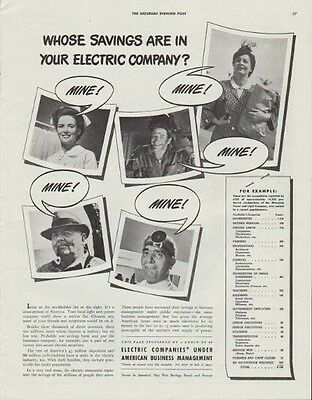 """1942 Electric Companies Ad """"Whose savings are in your electric company?"""""""