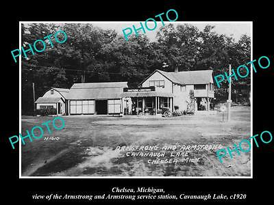 OLD LARGE HISTORIC PHOTO OF CHELSEA MICHIGAN THE ARMSTRONG SERVICE STATION c1920