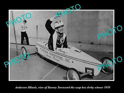 Old Large Historic Photo Of Anderson Illinois, The Soap Box Derby Champion 1959