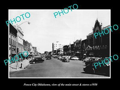 OLD LARGE HISTORIC PHOTO OF PONCA CITY OKLAHOMA, THE MAIN STREET & STORES c1950