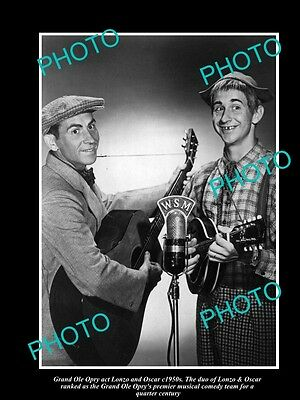 OLD LARGE HISTORIC PHOTO OF GRAND OLE OPRY COMEDY TEAM LONZO & OSCAR c1950s
